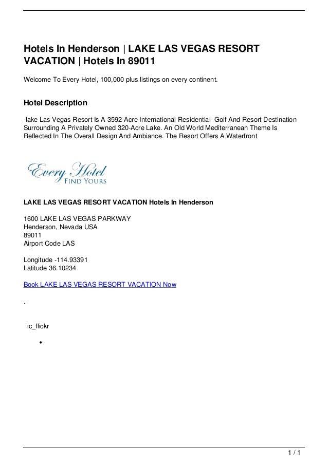 Hotels In Henderson | LAKE LAS VEGAS RESORT                                   VACATION | Hotels In 89011                  ...