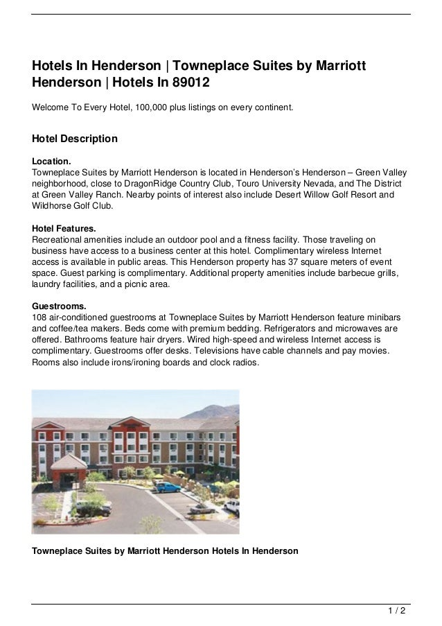 Hotels In Henderson   Towneplace Suites by MarriottHenderson   Hotels In 89012Welcome To Every Hotel, 100,000 plus listing...