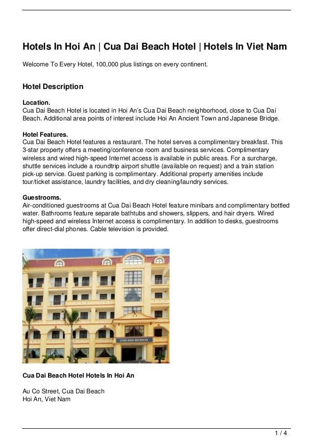 Hotels In Hoi An | Cua Dai Beach Hotel | Hotels In Viet NamWelcome To Every Hotel, 100,000 plus listings on every continen...