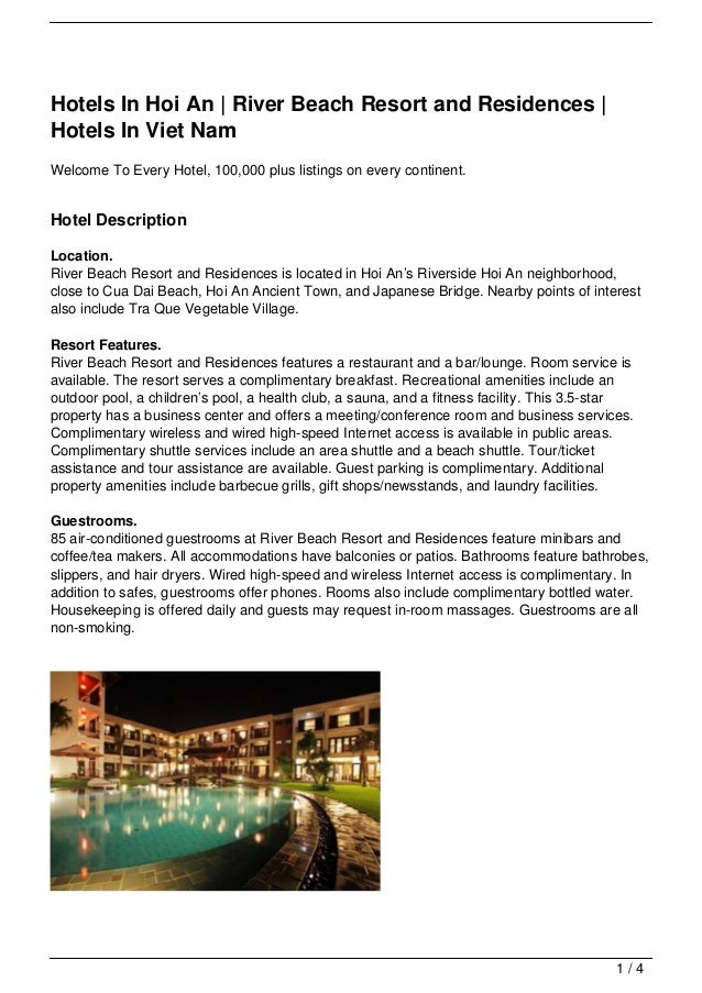 Hotels In Hoi An | River Beach Resort and Residences |Hotels In Viet NamWelcome To Every Hotel, 100,000 plus listings on e...