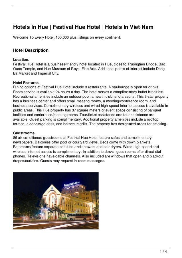 Hotels In Hue | Festival Hue Hotel | Hotels In Viet NamWelcome To Every Hotel, 100,000 plus listings on every continent.Ho...