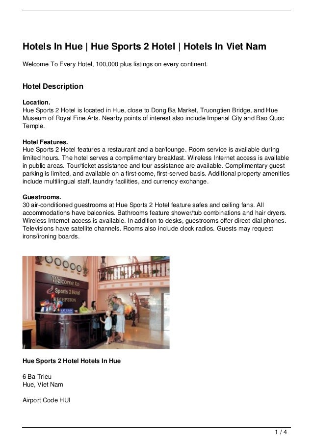 Hotels In Hue | Hue Sports 2 Hotel | Hotels In Viet NamWelcome To Every Hotel, 100,000 plus listings on every continent.Ho...