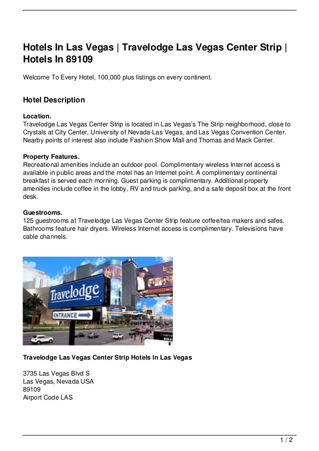 Hotels In Las Vegas | Travelodge Las Vegas Center Strip | Hotels In 89109