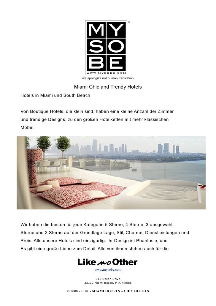 we apologize not human translation                            Miami Chic and Trendy Hotels Hotels in Miami und South Beach...
