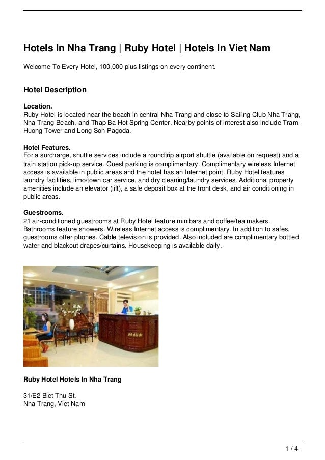 Hotels In Nha Trang | Ruby Hotel | Hotels In Viet NamWelcome To Every Hotel, 100,000 plus listings on every continent.Hote...