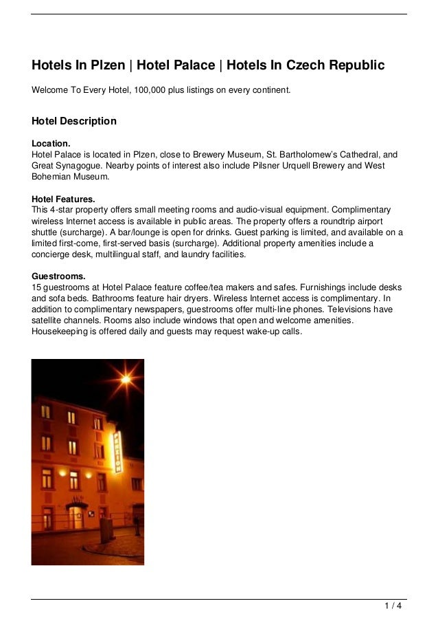 Hotels In Plzen | Hotel Palace | Hotels In Czech RepublicWelcome To Every Hotel, 100,000 plus listings on every continent....