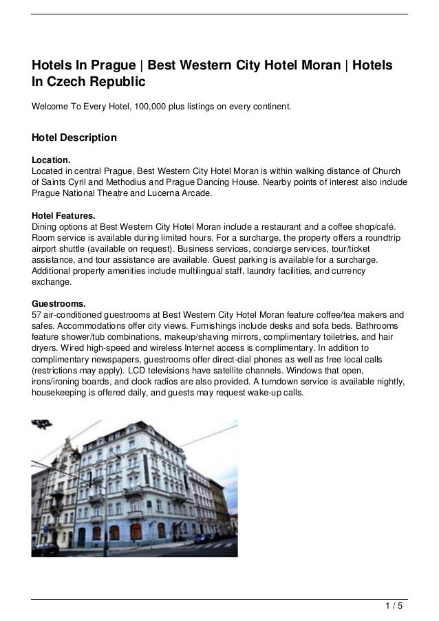 Hotels In Prague | Best Western City Hotel Moran | HotelsIn Czech RepublicWelcome To Every Hotel, 100,000 plus listings on...