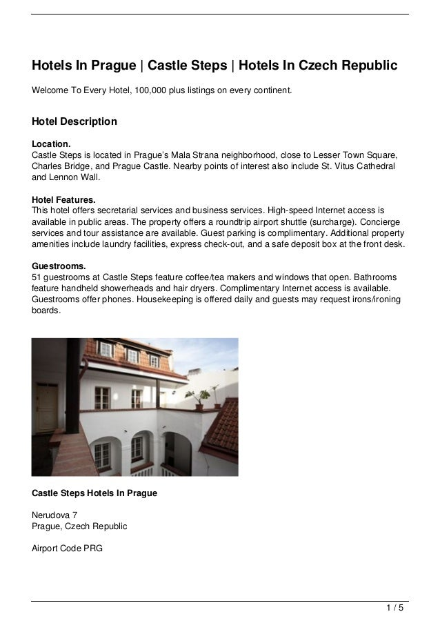 Hotels In Prague | Castle Steps | Hotels In Czech RepublicWelcome To Every Hotel, 100,000 plus listings on every continent...
