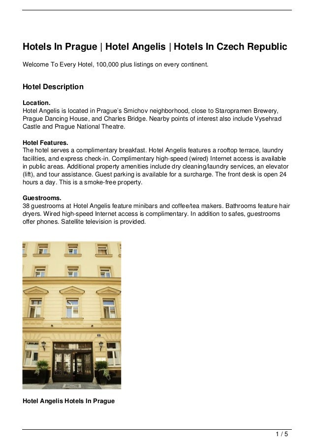 Hotels In Prague | Hotel Angelis | Hotels In Czech Republic Welcome To Every Hotel, 100,000 plus listings on every contine...