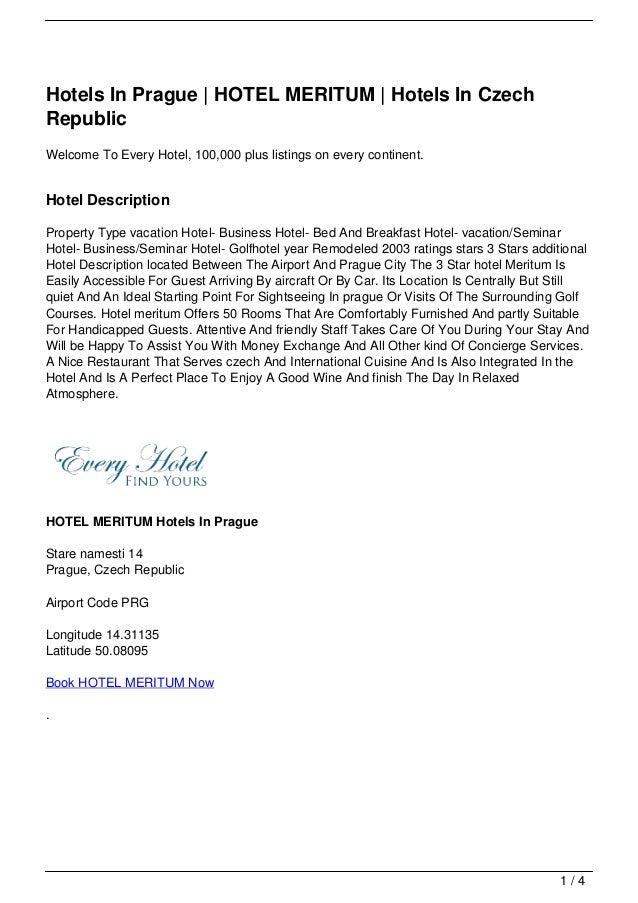 Hotels In Prague | HOTEL MERITUM | Hotels In Czech Republic