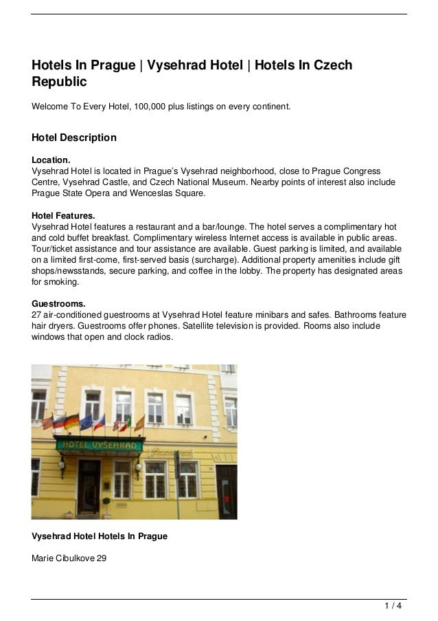 Hotels In Prague | Vysehrad Hotel | Hotels In CzechRepublicWelcome To Every Hotel, 100,000 plus listings on every continen...