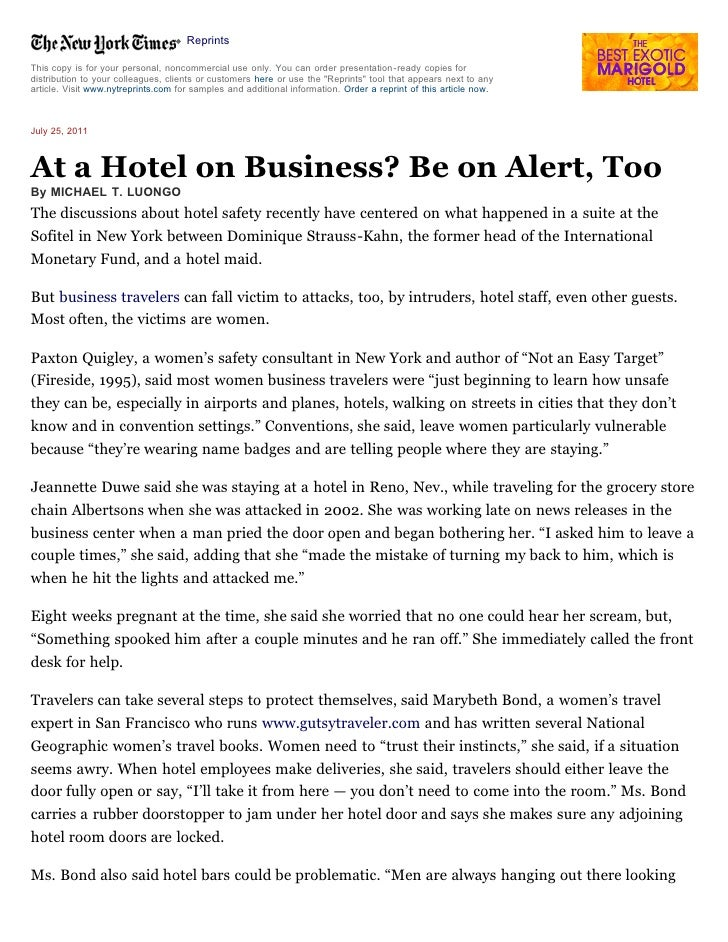 Hotel Safety Becomes Growing Issue -  New York Times - July 25, 2011