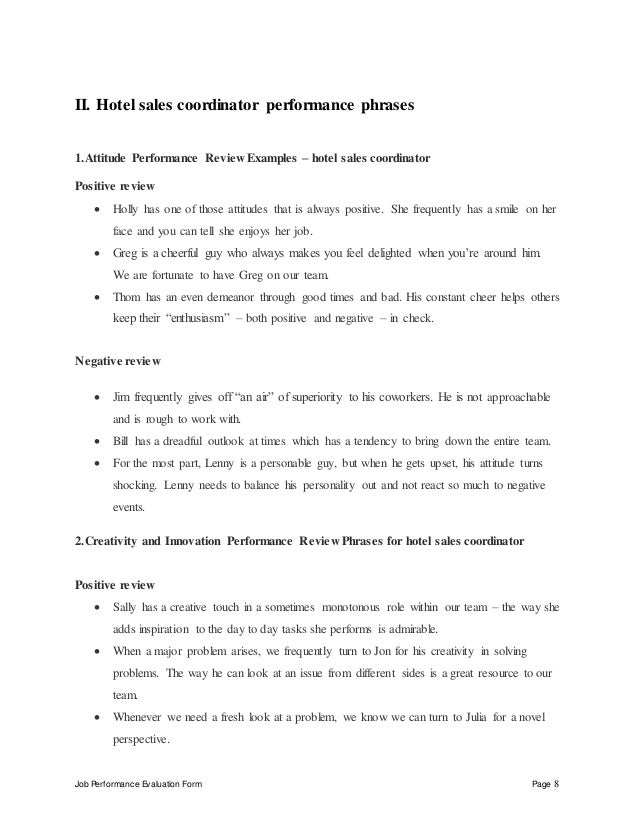 hotel sales coordinator performance appraisal