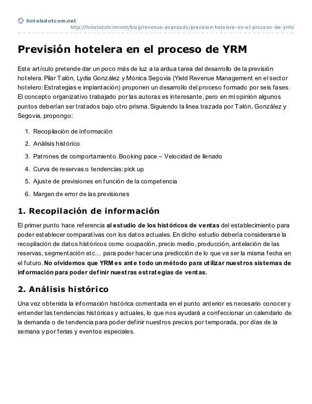 Previsión en el proceso de Revenue management hotelero