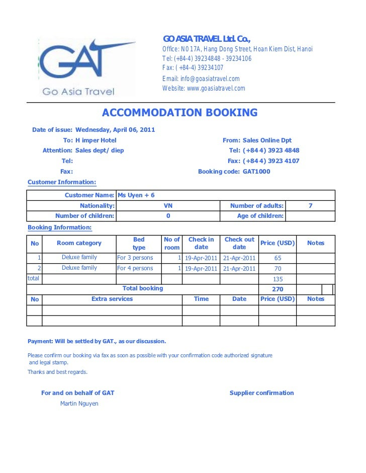 Hotels in hanoi hotel booking form gat for Accommodation booking form template