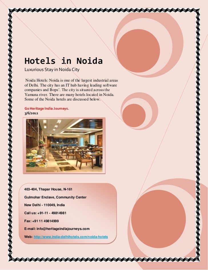 Luxury Hotels in noida Booking for Stay PDF Download