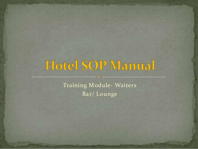 Training Module- Waiters Bar/ Lounge