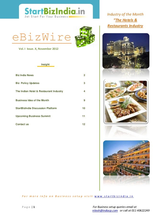 Hotels and Restaurants Industry in India