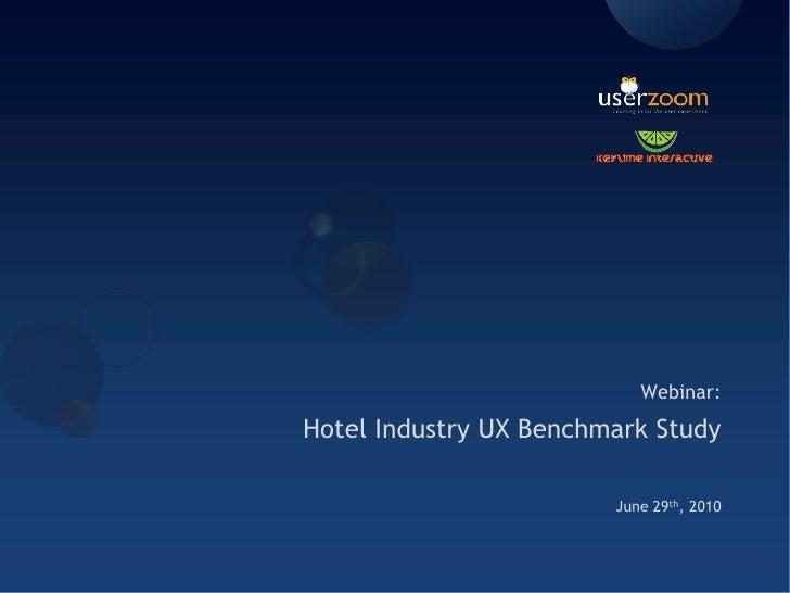 Hotel Industry UX Benchmark Study