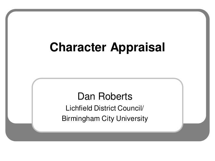 Hot tips and tricks, character appraisal, Dan Roberts