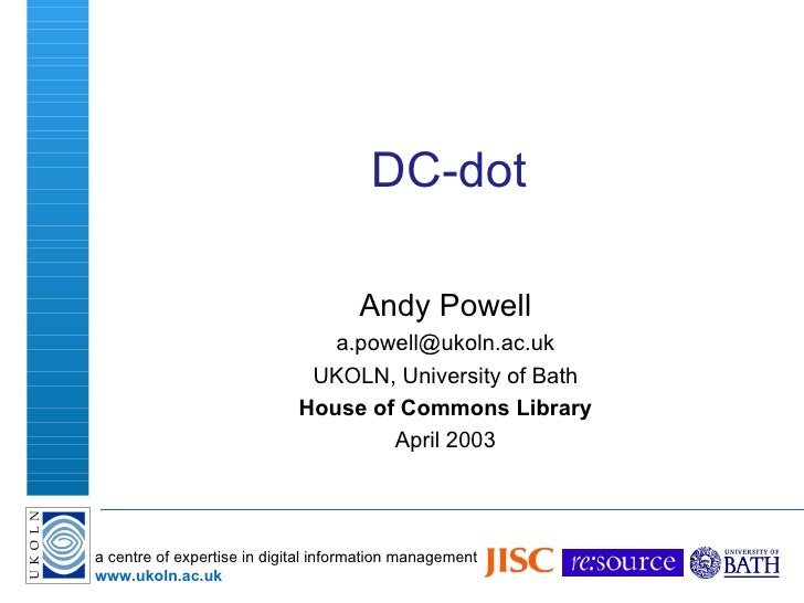 DC-dot Andy Powell [email_address] UKOLN, University of Bath House of Commons Library April 2003