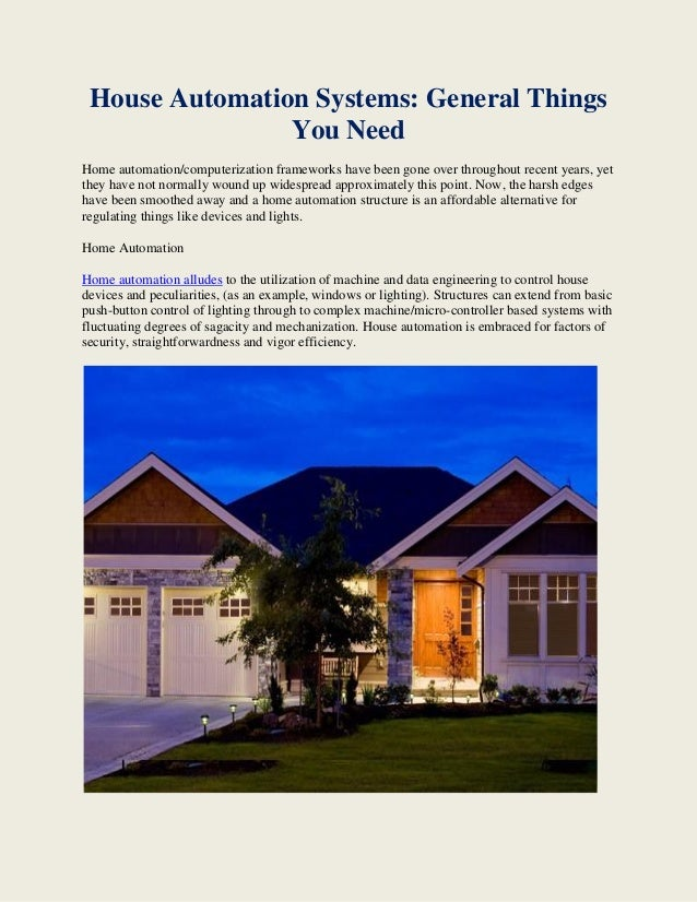 House automation systems general things you need for Things you need for a home