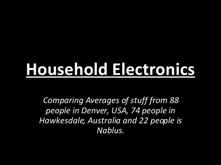 Household Electronics Comparing Averages of stuff from 88 people in Denver, USA, 74 people in Hawkesdale, Australia and 22...