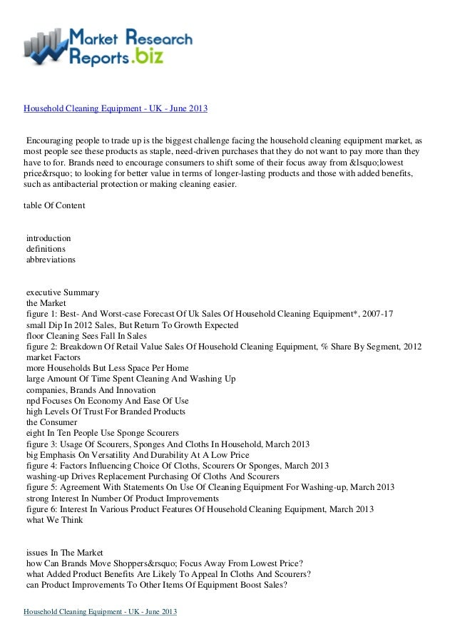 Best Report Ever:-Household cleaning equipment   uk - june 2013 by MarketResearchReports.biz