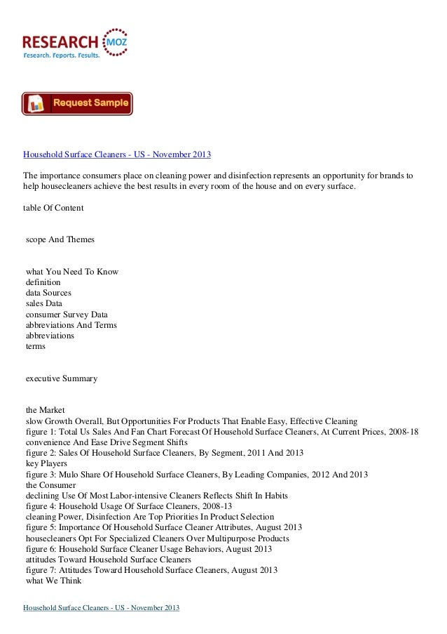 Household Surface Cleaners - US - November 2013 The importance consumers place on cleaning power and disinfection represen...