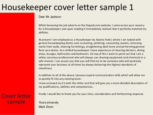housekeeping cover letter samples - Housekeeping Cover Letter