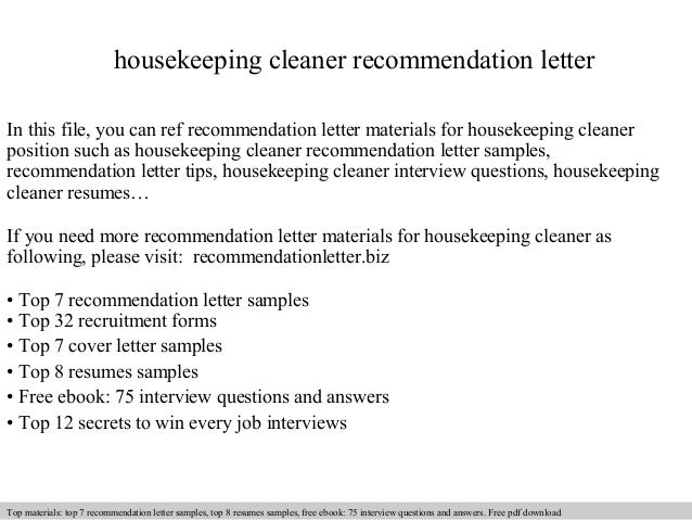 Housekeeping Cleaner Recommendation Letter