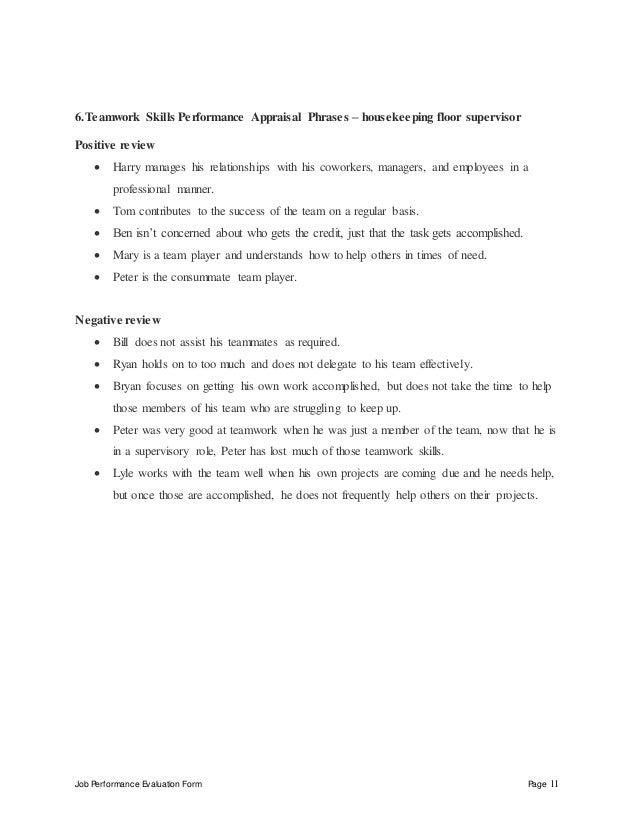 housekeeping floor supervisor performance appraisal