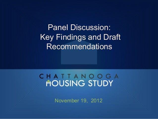 Housing Study Panel Presentation 11.19.12