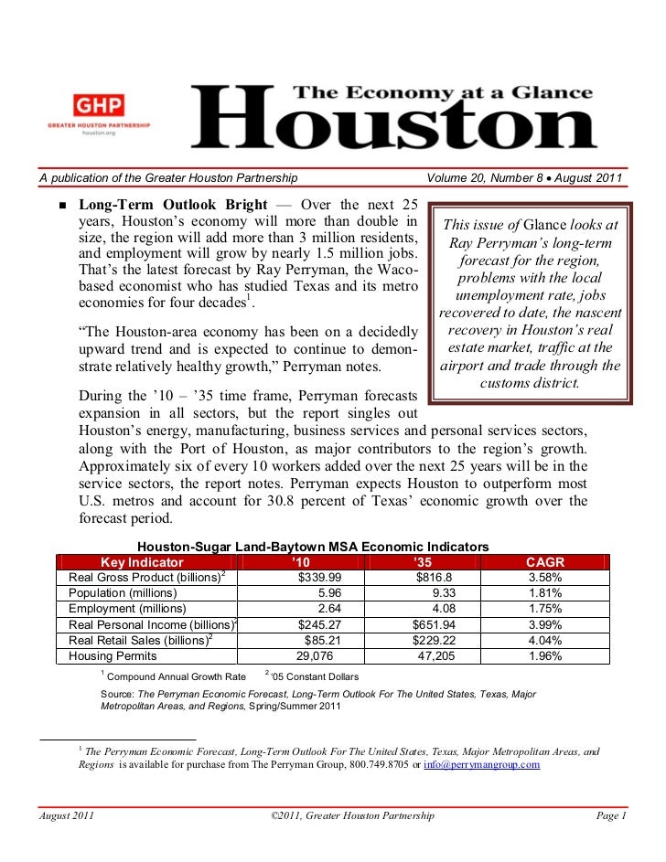 A publication of the Greater Houston Partnership                                     Volume 20, Number 8 August 2011      ...