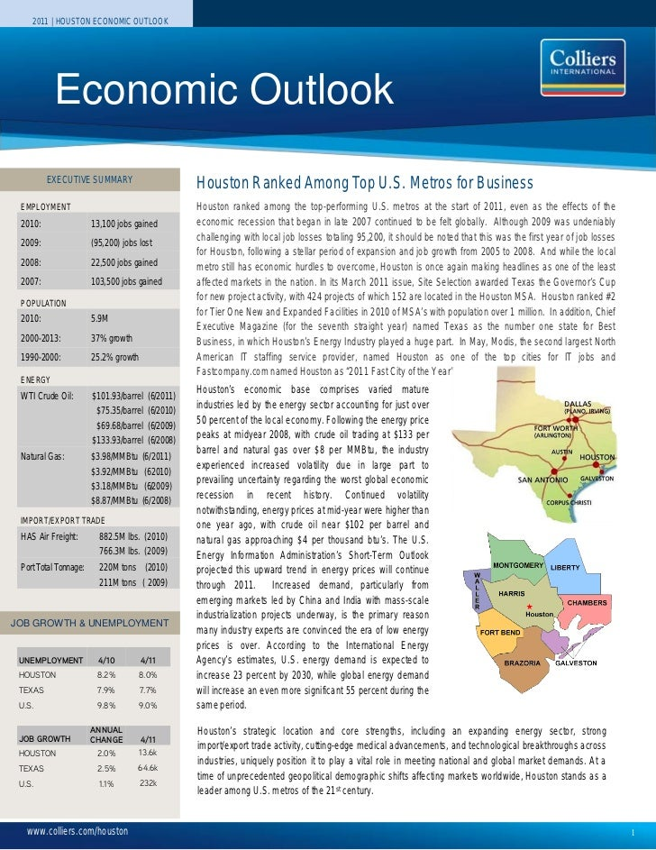 2011 | HOUSTON ECONOMIC OUTLOOK          Economic Outlook         EXECUTIVE SUMMARY                                       ...