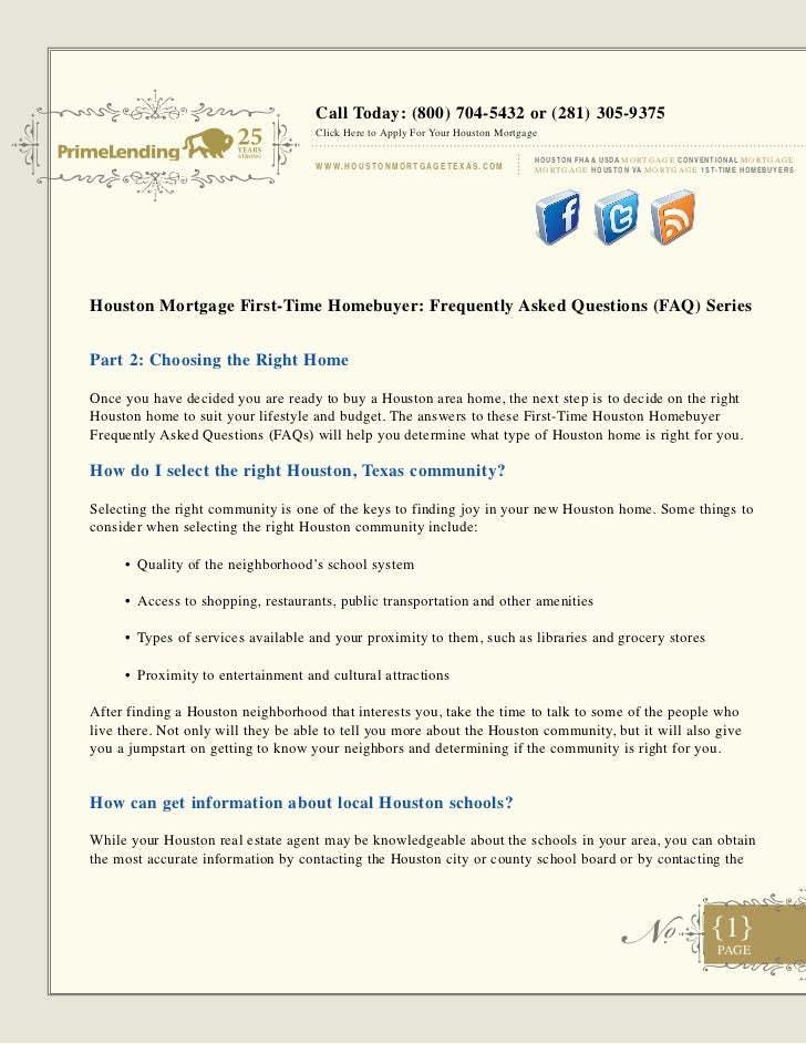 Houston mortgage first time homebuyer - faq part 2