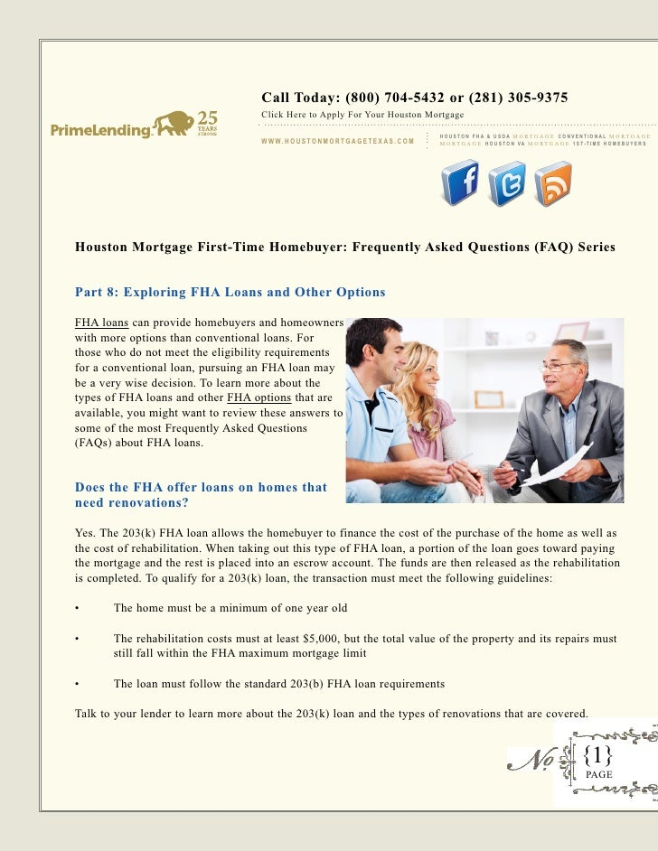 Houston mortgage first time homebuyer - frequently asked questions (faq) - part 8