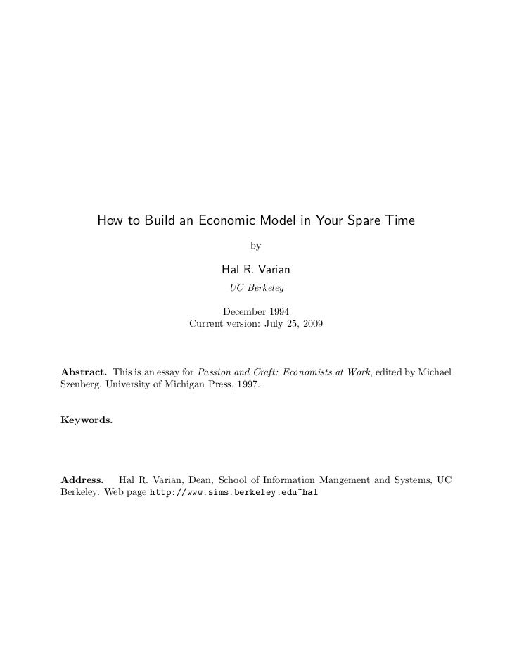 How to Build an Economic Model in Your Spare Time                                          by                             ...