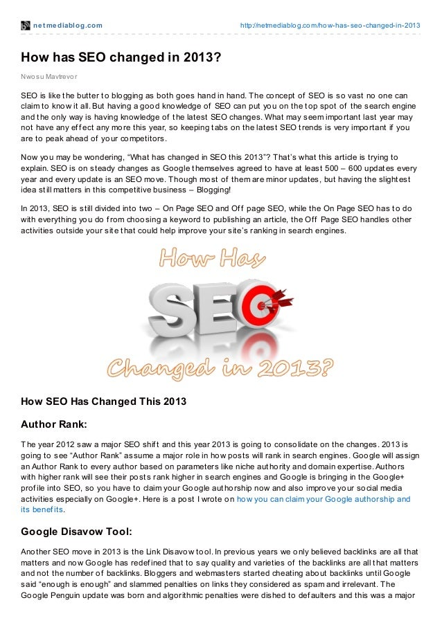 How has seo changed in 2013