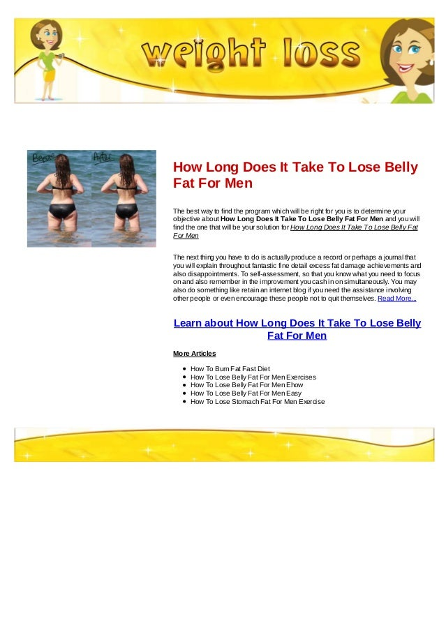 How Long Does It Take To Lose Belly Fat For Men