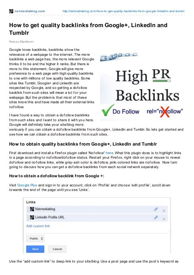 How to get quality backlinks from google+, linked in and tumblr