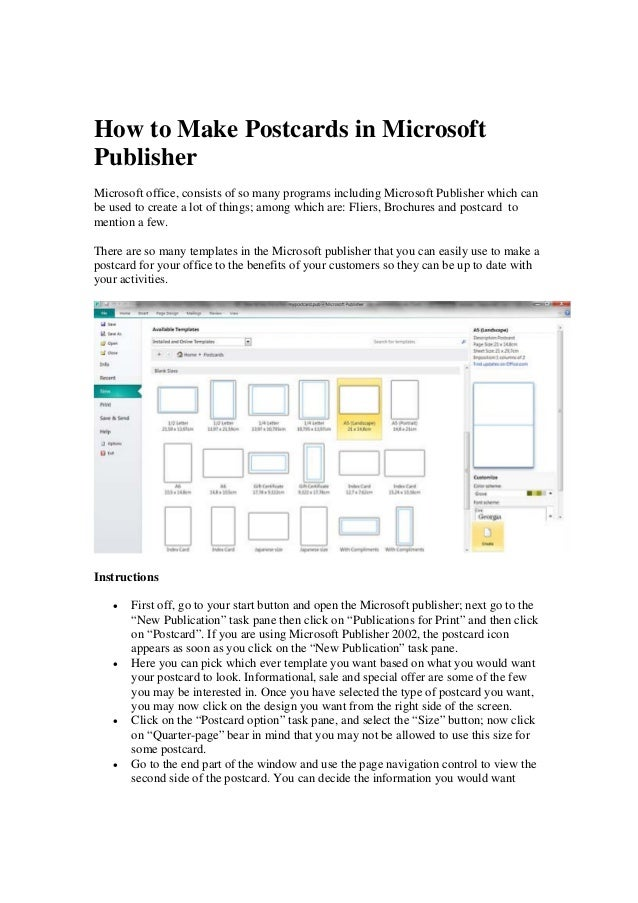 How to make postcards in publisher 2010
