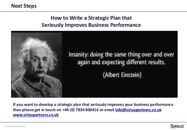 Write a strategic plan