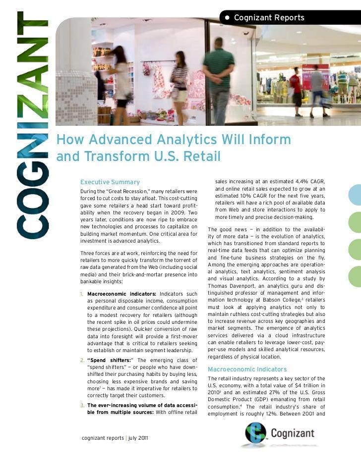 • Cognizant ReportsHow Advanced Analytics Will Informand Transform U.S. Retail   Executive Summary                        ...