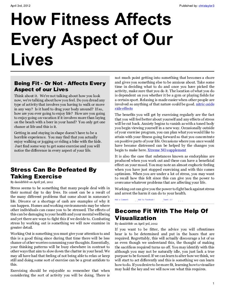 How Fitness Affects Every Aspect of Our Lives