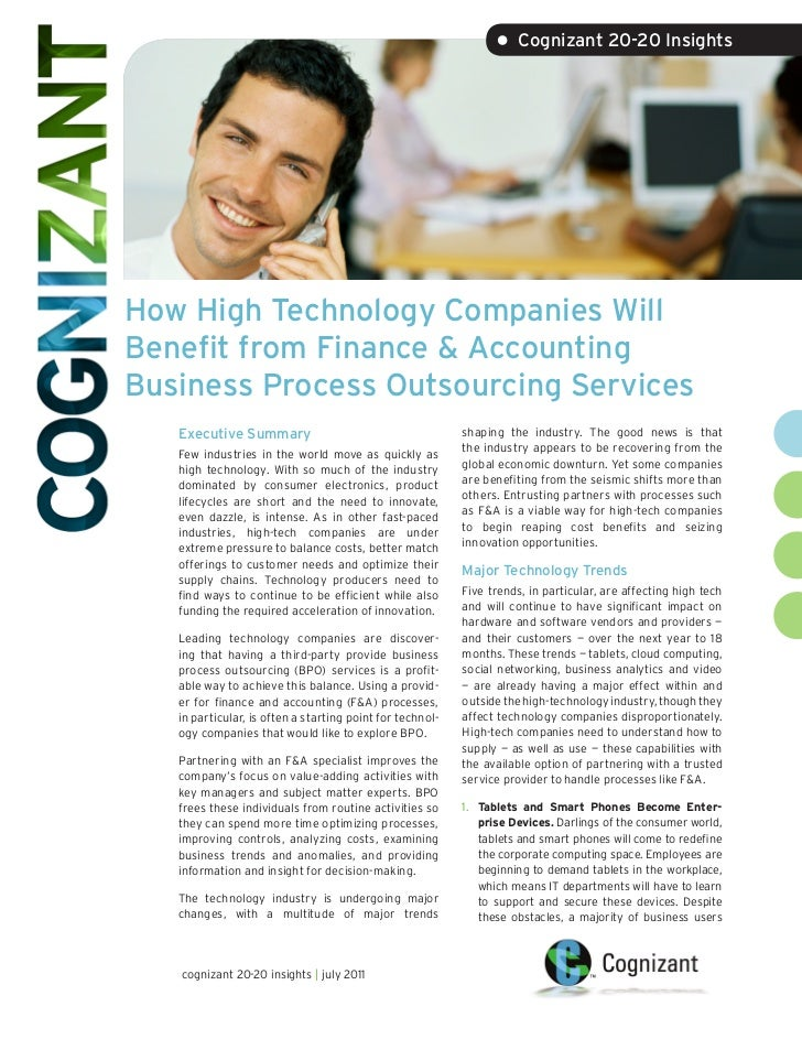 • Cognizant 20-20 InsightsHow High Technology Companies WillBenefit from Finance & AccountingBusiness Process Outsourcing ...