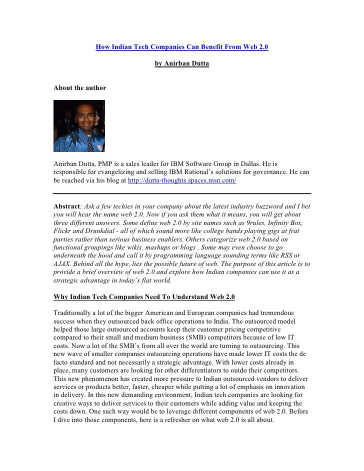 How Indian Tech Companies Can Benefit From Web 2.0                                      by Anirban Dutta   About the autho...