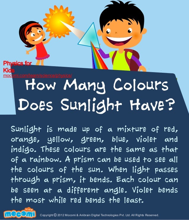 Physics for Kids  mocomi.com/learn/science/physics/  How Many Colours Does Sunlight Have?  Sunlight is made up of a mixtur...