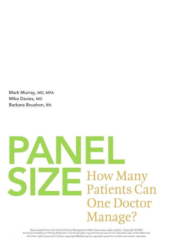 Mark Murray, MD, MPA Mike Davies, MD Barbara Boushon, RN     PANEL SIzE                                                   ...