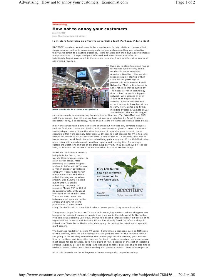 Advertising | How not to annoy your customers | Economist.com                                                  Page 1 of 2...